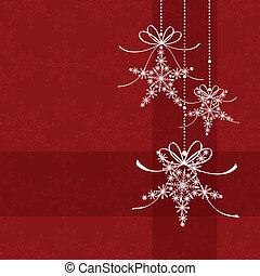 padrão, abstratos, seamless, elegância, natal, snowflake, vermelho