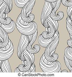 padrão, abstratos, seamless, mão, fundo, ondas, desenhado