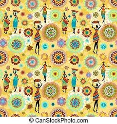 padrão, africano, meninas, seamless, textura, étnico, encantador