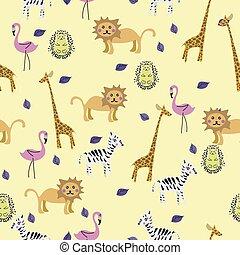padrão, africano, seamless, cute, vetorial, animal
