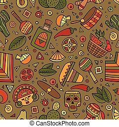 padrão, americano, hand-drawn, seamless, latim, caricatura, mexicano