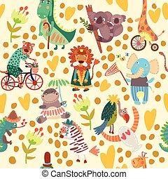 padrão, animais, selvagem, áfrica., seamless, cute, floral