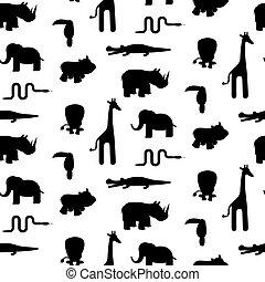 padrão animal, seamless, jardim zoológico, silhuetas, vector.