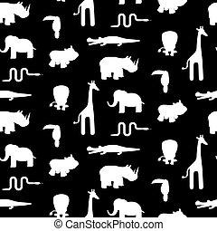 padrão animal, seamless, silhuetas, pretas, vector., branca
