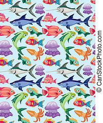 padrão, aquático, caricatura, animal, seamless