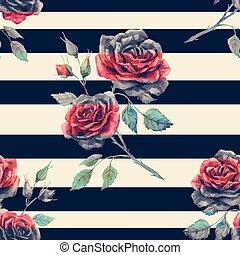padrão, aquarela, rosa