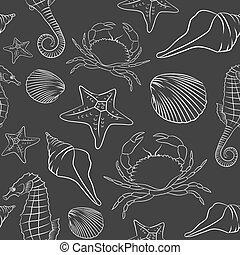 padrão, arte, animal mar