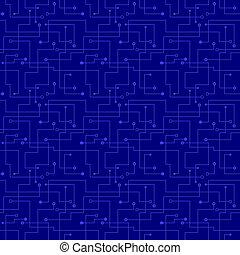 padrão, azul, seamless, board., -, circuito, vetorial, eletrônico