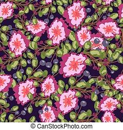 padrão, bagas, flores, impressão azul, seamless, experiência., vetorial, verde, buquês, escuro, leaves., cor-de-rosa, pequeno