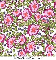 padrão, bagas, flores, impressão azul, seamless, pequeno, vetorial, verde, buquês, experiência., leaves., cor-de-rosa, branca