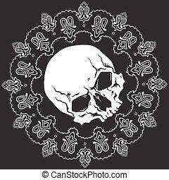 padrão, bandana, desenho, cranio
