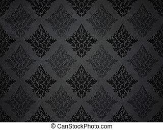 padrão, barroco, papel parede