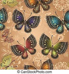 padrão, bege, luminoso, coloridos, seamless, borboletas
