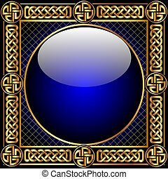 padrão, bola, fundo, gold(en), vidro