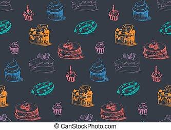 padrão, bolos, gostoso, seamless
