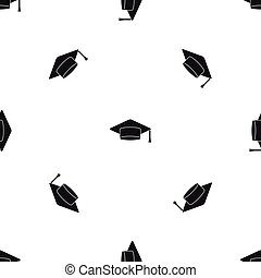 padrão, boné, pretas, seamless, estudante