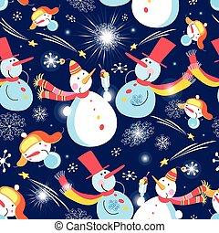 padrão, bonecos neve, natal