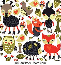 padrão, bosque, animais, seamless, pássaros