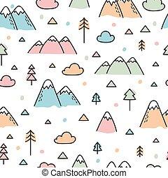 padrão, bosque, seamless, árvores, mão, experiência., floresta, desenhado, escandinavo, montanhas., criativo