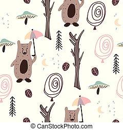 padrão, bosque, seamless, escandinavo