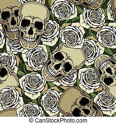 padrão, branca, crânios, seamless, rosas