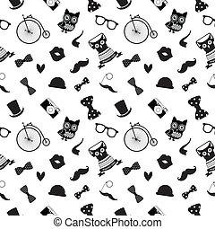 padrão, branca, hipster, pretas, seamless