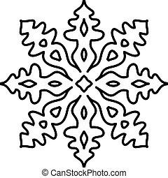 Padrão, branca, isolado,  Snowflake, fundo