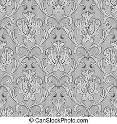 padrão, branca, papel parede, pretas, seamless
