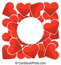padrão, branca, papel, vermelho, corações