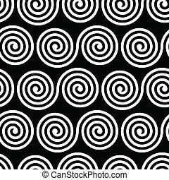 padrão, branca, pretas, seamless