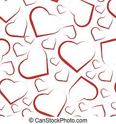 padrão, branca, seamless, vermelho, corações