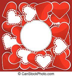 padrão, branco vermelho, corações