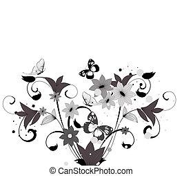 padrão, bush, flor