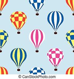 padrão, céu, seamless, ar, quentes, vetorial, balões