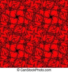 padrão, cachos, experiência., vetorial, preto vermelho