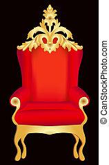 padrão, cadeira, preto vermelho