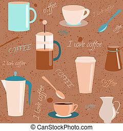 padrão, café, elementos, seamless, relatado