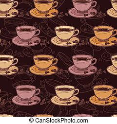 padrão, café, esboço, seamless