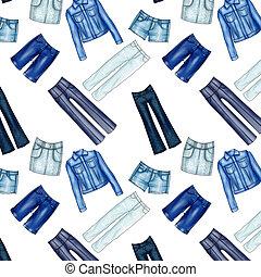 padrão, calças brim, seamless, roupas