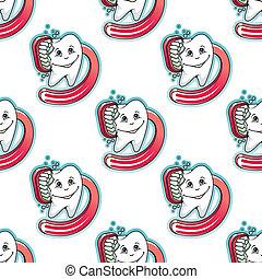 padrão, caricatura, escova, seamless, dente