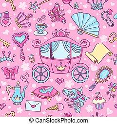 padrão, carruagem, seamless, cute