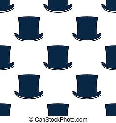 padrão, chapéu, vindima, seamless, cilindro
