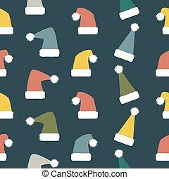 padrão, chapéus, seamless, engraçado, santa, ano, novo,...