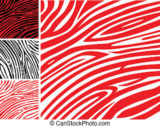 padrão, -, cobrança, zebra, impressão pele animal, branca, ou, vermelho