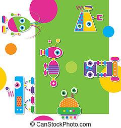 padrão, coloridos, robôs, cobrança