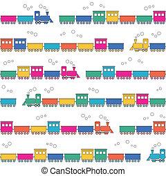 padrão, coloridos, trens