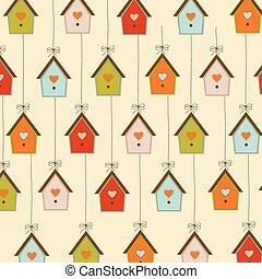padrão, com, birdcages