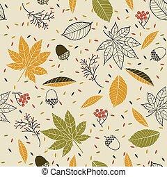 padrão, cones, bolotas, seamless, folhas, outono