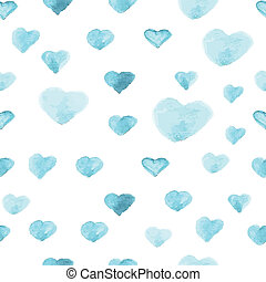 padrão coração, polca, seamless, pintura aquarela, ponto