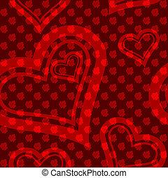 padrão coração, seamless, rosa vermelha